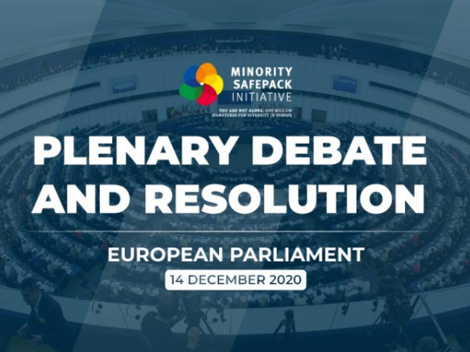 Bild: Plenardebatte im Europäischen Parlament: Minority SafePack setzt Minderheitenbelange auf die europäische Agenda